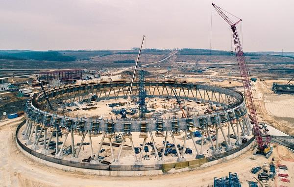 На Курской АЭС-2 начали бетонирование оболочки самой высокой в России градирни