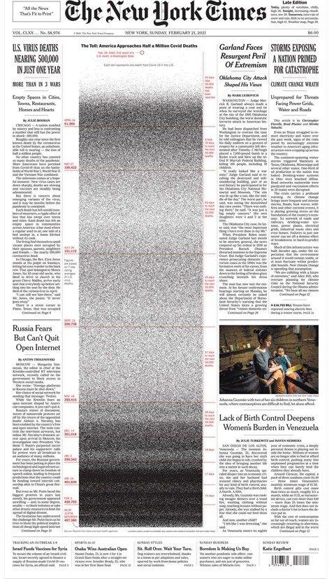 Газета The New York Times увековечила погибших от ковида американцев